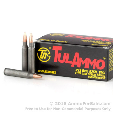 1000 Rounds of 62gr FMJ .223 Ammo by Tula