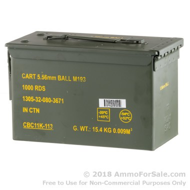 1000 Rounds of 55gr FMJBT 5.56x45 Ammo by Magtech/CBC