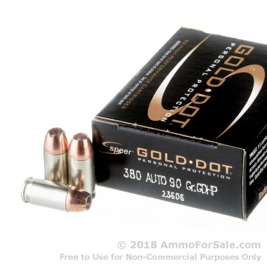 20 Rounds of 90gr JHP .380 ACP Ammo by Speer