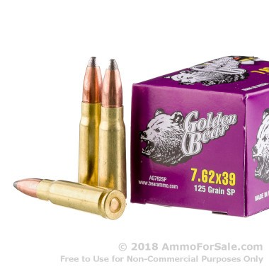 500  Rounds of 125gr SP 7.62x39mm Ammo by Golden Bear