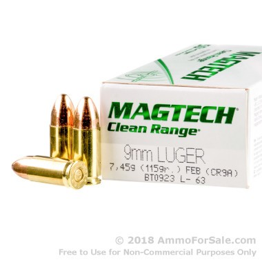 50 Rounds of 115gr FEB 9mm Ammo by Magtech CleanRange