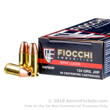 1000 Rounds of 124gr JHP 9mm Ammo by Fiocchi