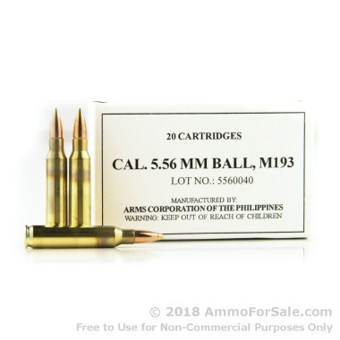 20 Rounds of 55gr FMJBT 5.56x45 Ammo by Armscor