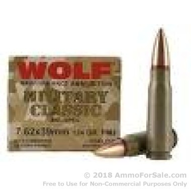 1000 Rounds of 124gr FMJ 7.62x39mm Ammo by Wolf