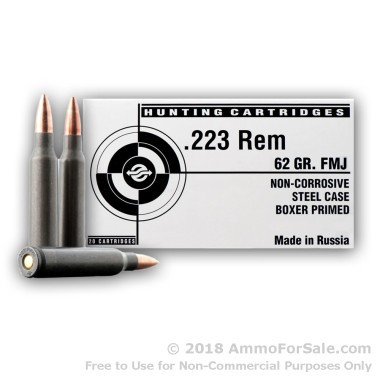 Bulk Tula 223 Rem 62 gr FMJ Ammo For Sale
