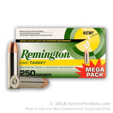 250 Rounds of 130gr MC .38 Spl Nickel Plated Ammo by Remington