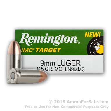 50  Rounds of 115gr MC 9mm Nickel Plated Ammo by Remington