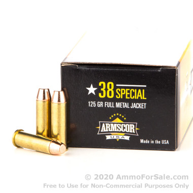 1000 Rounds of 125gr FMJ .38 Spl Ammo by Armscor