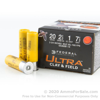 25 Rounds of  #7 1/2 Shot 20ga Ammo by Federal
