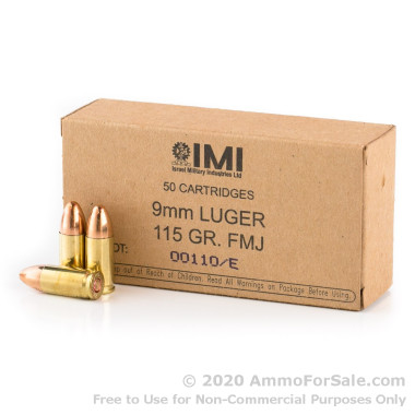 50 Rounds of 115gr FMJ 9mm Ammo by Israeli Military Industries