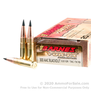 20 Rounds of 110gr TAC-TX FB .300 AAC Blackout Ammo by Barnes