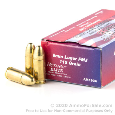 50 Rounds of 115gr FMJ 9mm Ammo by Century Int Arms