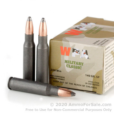 20 Rounds of 140gr SP .308 Win Ammo by Wolf WPA