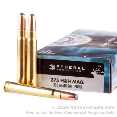 20 Rounds of 300 gr SP .375 H&H Mag Ammo by Federal