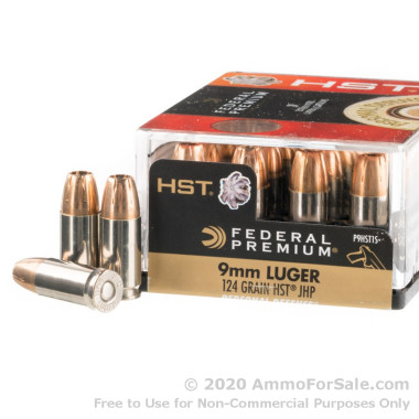 200 Rounds of 124gr HST JHP 9mm Ammo by Federal