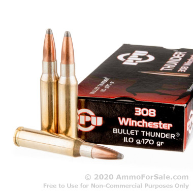 20 Rounds of 170gr SP .308 Win Ammo by Prvi Partizan