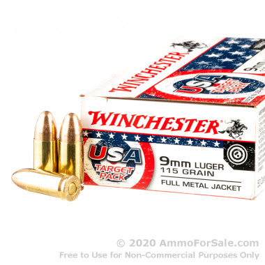 500 Rounds of 115gr FMJ 9mm Ammo by Winchester Target