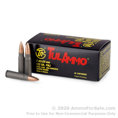 40 Rounds of 122gr FMJ 7.62x39mm Ammo by Tula
