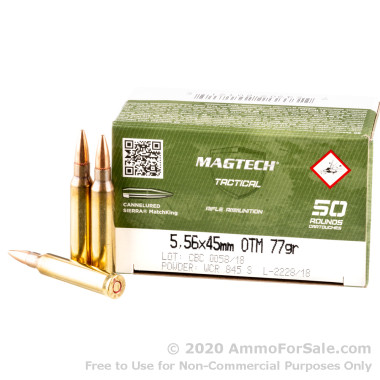 1000 Rounds of 77gr HPBT Cannelured MatchKing 5.56x45 Ammo by Magtech