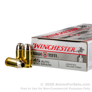 50 Rounds of 230gr JHP .45 ACP Ammo by Winchester Win1911