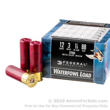 "25 Rounds of 3"" 1 1/8 ounce BB Shot 12ga Ammo by Federal Speed-Shok"