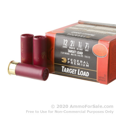 "25 Rounds of 2-3/4"" 1 1/8 ounce #7 1/2 shot 12ga Ammo by Federal Gold Medal Target"