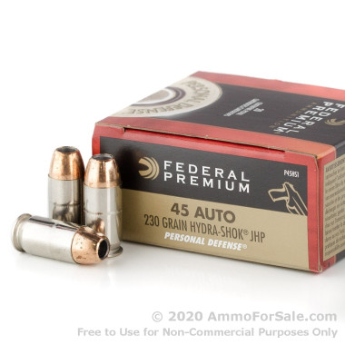 500 Rounds of 230gr JHP .45 ACP Ammo by Federal Premium Hydra-Shok