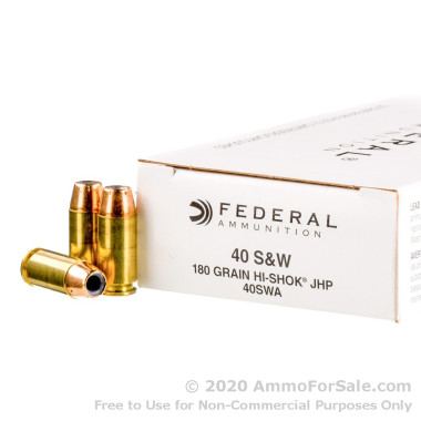50 Rounds of 180gr JHP .40 S&W Ammo by Federal Classic