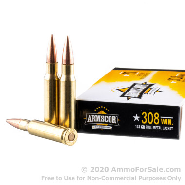 20 Rounds of 147gr FMJ .308 Win Ammo by Armscor