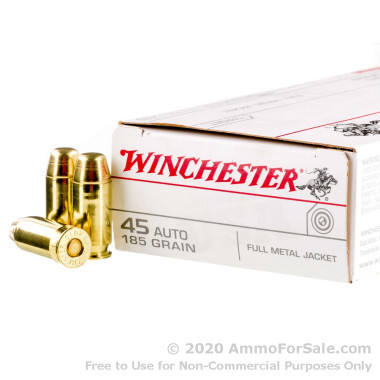 500 Rounds of 185gr FMJ .45 ACP Ammo by Winchester