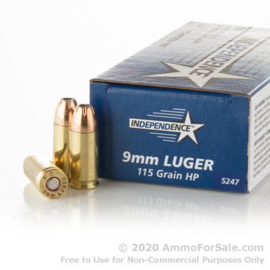 50 Rounds of 115gr JHP 9mm Ammo by Independence