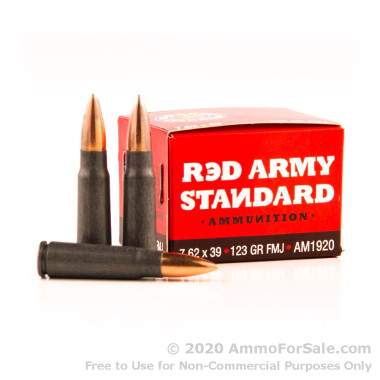 180 Rounds of 123gr FMJ 7.62x39mm Ammo by Red Army Standard