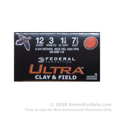 25 Rounds of 1 1/8 ounce #7 1/2 shot 12ga Ammo by Federal Ultra Clay & Field