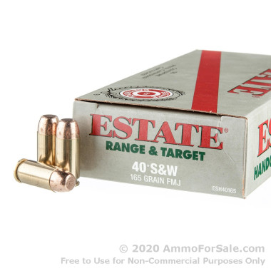 50 Rounds of 165gr FMJ .40 S&W Ammo by Estate Cartridge