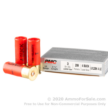 250 Rounds of LV LE #4 Buck 12ga Ammo by PMC