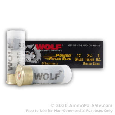 250 Rounds of 1 ounce Rifled Slug 12ga Ammo by Wolf