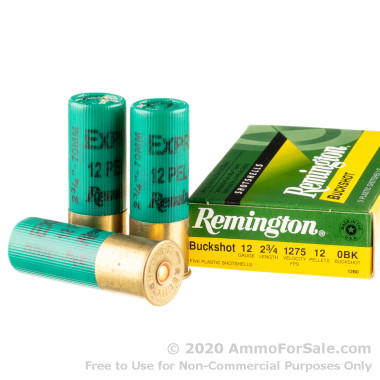 250 Rounds of  0 Buck 12ga Ammo by Remington