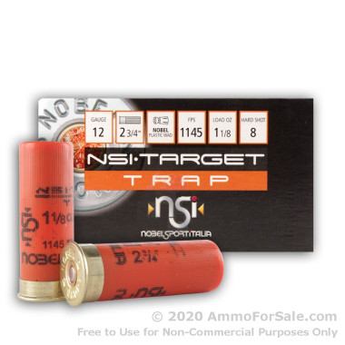 250 Rounds of 1 1/8 ounce #8 shot 12ga Ammo by NobelSport