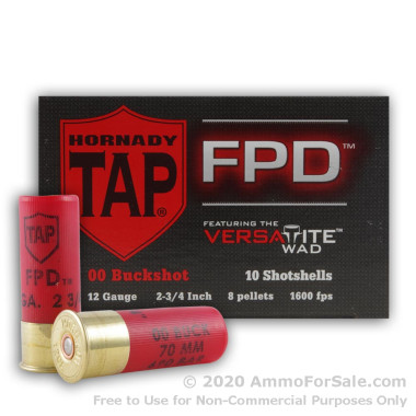 250 Rounds of  00 Buck 12ga TAP FPD Ammo by Hornady