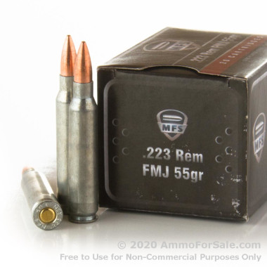 500  Rounds of 55gr FMJ .223 Ammo by MFS