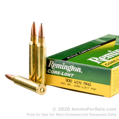20 Rounds of 150gr PSP .300 Win Mag Ammo by Remington Core-Lokt