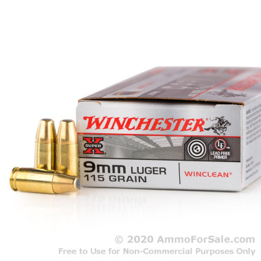 50 Rounds of 115gr BEB 9mm Ammo by Winchester