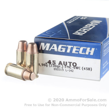 50 Rounds of 230gr FMC Semi-Wadcutter .45 ACP Ammo by Magtech