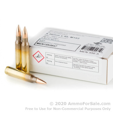 510 Rounds of 56gr FMJ 5.56x45 Ammo by MEN