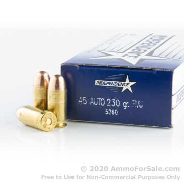 50 Rounds of 230gr FMJ .45 ACP Ammo by Independence