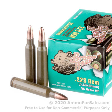 500  Rounds of 55gr HP .223 Ammo by Brown Bear