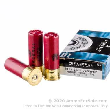 5 Rounds of  #4 Buck 12ga Ammo by Federal