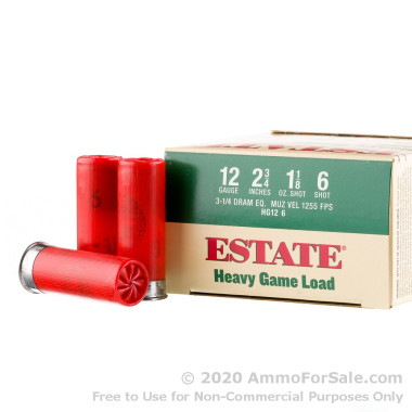 25 Rounds of 1 1/8 ounce #6 shot 12ga Ammo by Estate Cartridge Heavy Game Load
