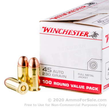 100 Rounds of 230gr FMJ .45 ACP Ammo by Winchester