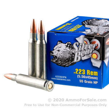 20 Rounds of 55gr HP .223 Ammo by Silver Bear
